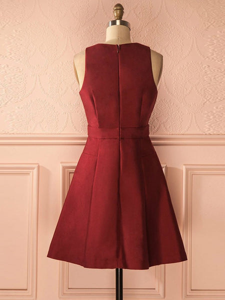 A Line Deep V Neck Burgundy Satin Short Prom Homecoming Dresses, V Neck Burgundy Formal Graduation Evening Dress