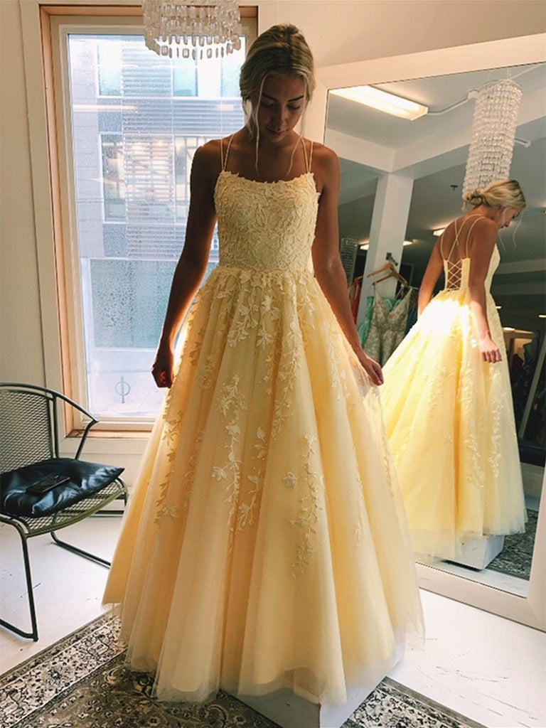 A Line Floor Length Long Yellow Lace Prom Dresses, Yellow Lace Formal Graduation Evening Dresses