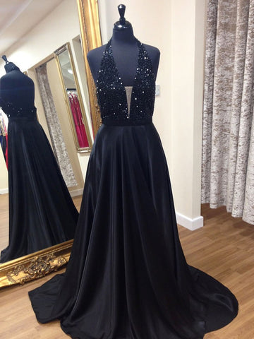 A Line Halter Neck Backless Beaded Black Long Prom Dresses, V Neck Black Formal Dresses, Backless Black Evening Dresses