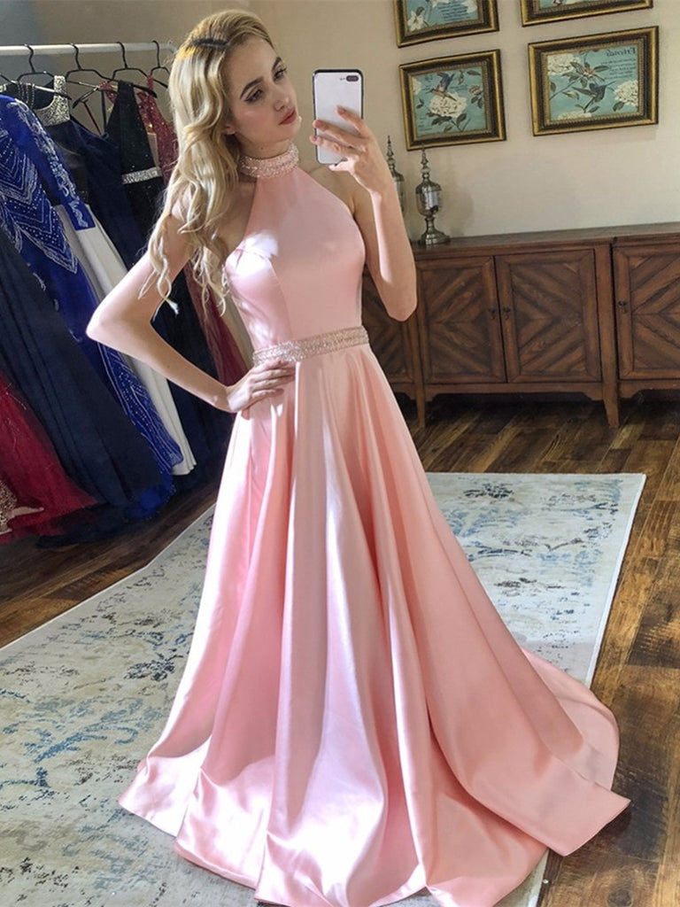 A Line Halter Neck Backless Beading Satin Long Pink Prom Dresses, Backless Pink Formal Dresses, Pink Evening Dresses
