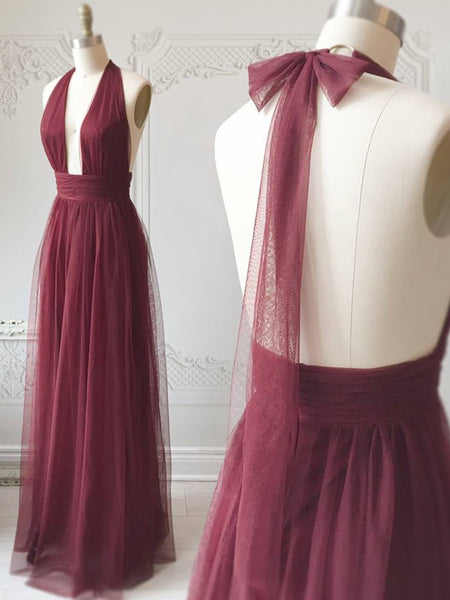 A Line Halter Neck Backless Burgundy Prom Dresses, Backless Burgundy Formal Dresses, Burgundy Evening Dresses