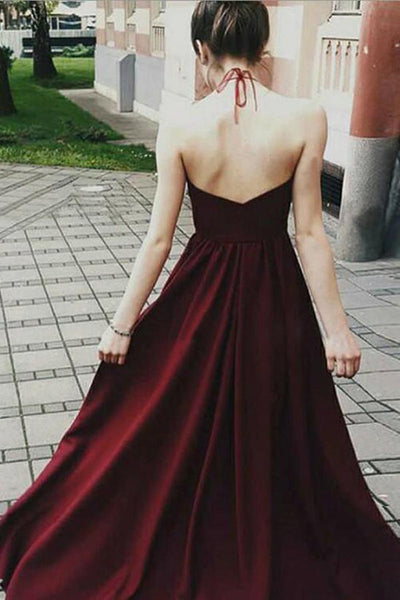 A Line Halter Neck Backless Floor Length Lace Maroon Long Prom Dresses, Maroon Lace Formal Dresses, Evening Dresses