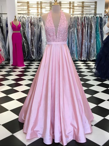 A Line Halter Neck Lace Pink Prom Dress, Lace Formal Dress, Pink Evening Dress