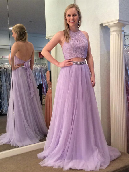 A Line Halter Neck Two Pieces Backless Lace Lavender Prom Dresses, Lavender Lace Formal Dresses, Two Pieces Lace Lavender Evening Dresses