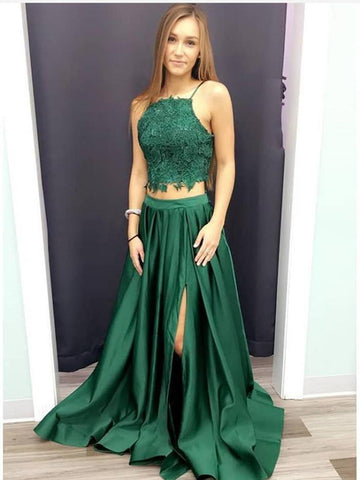 A Line Halter Neck Two Pieces Lace Green Prom Dresses with Leg Slit, Lace Green Formal Dresses, Evening Dresses