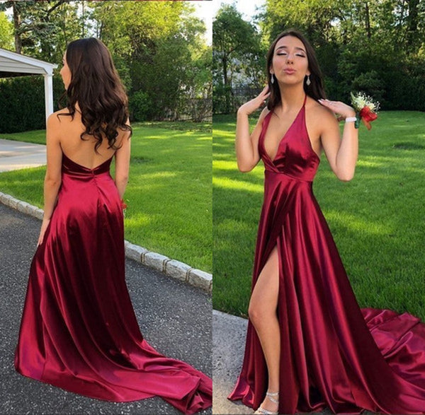 A Line Halter V Neck Backless Burgundy Satin High Slit Long Prom Dresses with Train, Burgundy Formal Dresses, Evening Dresses