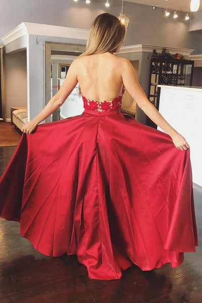 A Line Halter V Neck Backless Lace Appliques Red Prom Dresses, V Neck Red Formal Dresses, Red Lace Evening Dresses 2019