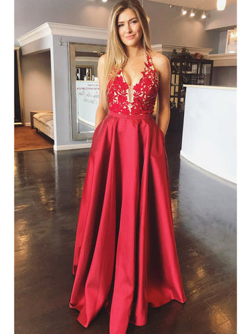 96730200830 A Line Halter V Neck Backless Lace Appliques Red Prom Dresses