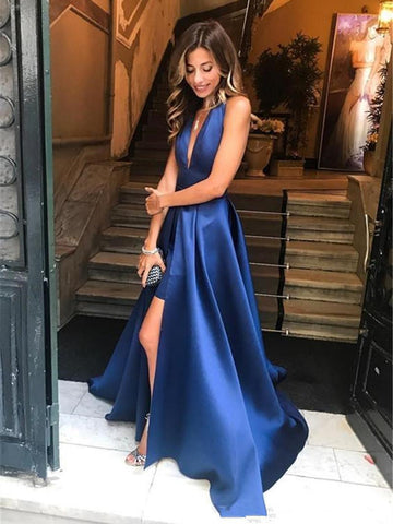 A Line Halter V Neck Backless Royal Blue Prom Dresses with High Slit, V Neck Royal Blue Formal Dresses, Royal Blue Backless Evening Dresses