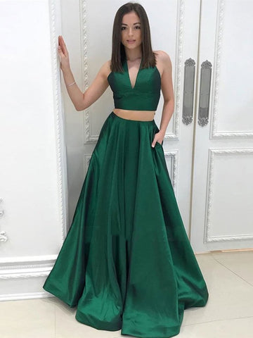 A Line Halter V Neck Two Pieces Backless Green Prom Dresses with Pocket, Two Pieces Green Formal Dresses, Evening Dresses