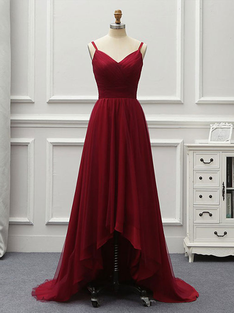 A Line High Low Backless Burgundy Tulle Long Prom Dresses, High Low Burgundy Formal Dresses, Backless Burgundy Evening Dresses