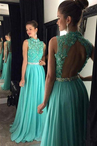 A Line High Neck Backless Lace Appliques Green Long Prom Dresses, Open Back Green Lace Formal Evening Graduation Dresses