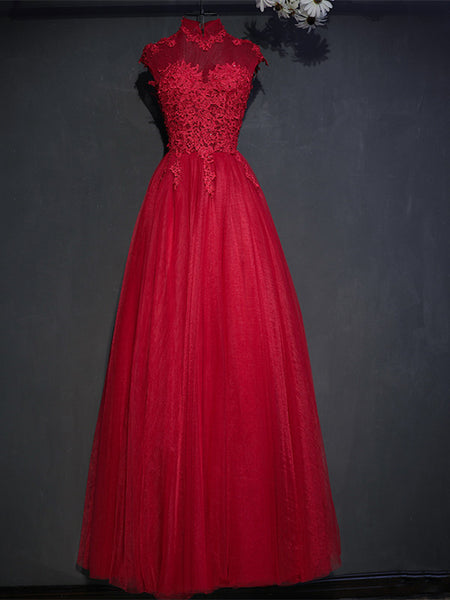 A Line High Neck Cap Sleeves Lace Black/Red Prom Dresses, Black/Red Lace Formal Dresses, Evening Dresses
