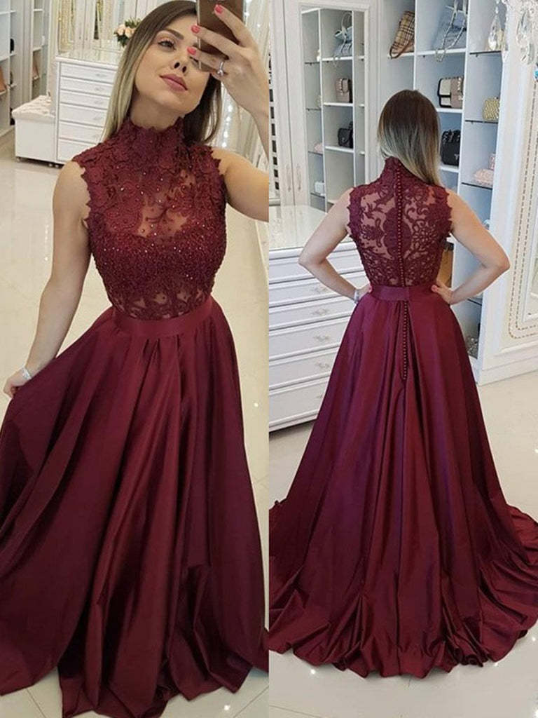 A Line High Neck Lace Burgundy Satin Long Prom Dresses, Burgundy Lace Formal Dresses, Burgundy Evening Dresses