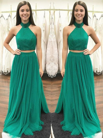 A Line High Neck Two Pieces Green Prom Dress With Beading, Green Formal Dress, Two Pieces Evening Dress