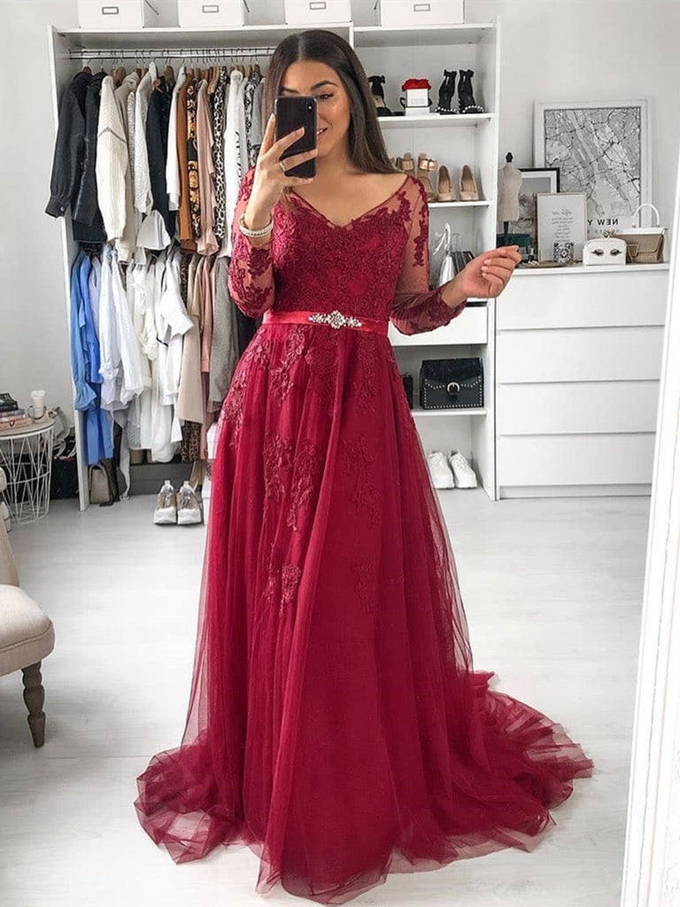 A Line Long Sleeves Lace Burgundy Long Prom Dresses, Long Sleeves Burgundy Lace Formal Dresses, Burgundy Lace Evening Dresses