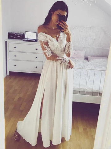 A Line Long Sleeves Lace White Prom Dresses with Split, Long Sleeves White Lace Formal Graduation Evening Dresses
