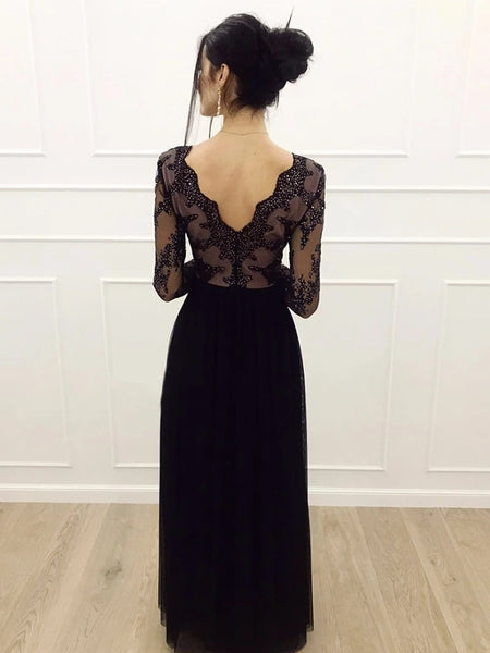A Line Long Sleeves V Neck Lace Black Prom Dresses with Split, V Neck Long Sleeves Black Lace Formal Dresses, Black Lace Evening Dresses