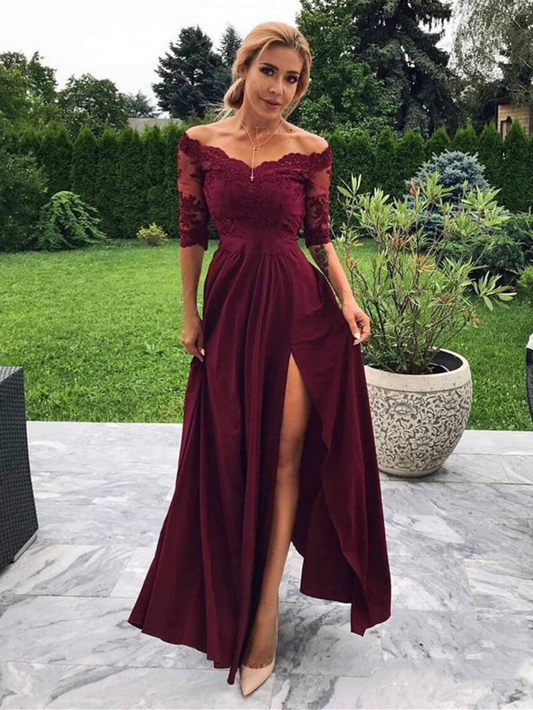 A Line Off Shoulder Half Sleeves Lace Maroon Prom Dresses with Slit, Off The Shoulder Burgundy Formal Dresses, Evening Dresses