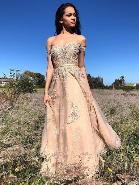 A Line Off Shoulder Lace Appliques Champagne Long Prom Dresses, Off Shoulder Lace Champagne Formal Dresses, Champagne Lace Evening Dresses