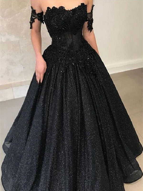 A Line Off Shoulder Lace Black Long Prom Dresses, Black Lace Formal Dresses, Evening Dresses