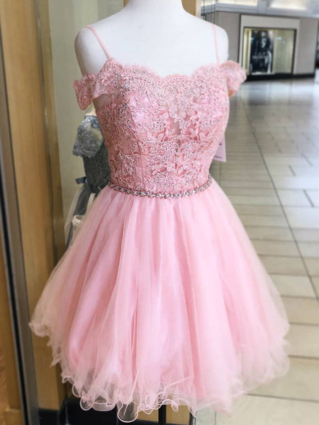 A Line Off Shoulder Lace Pink Short Prom Homecoming Dresses, Off Shoulder Pink Lace Formal Graduation Evening Dresses