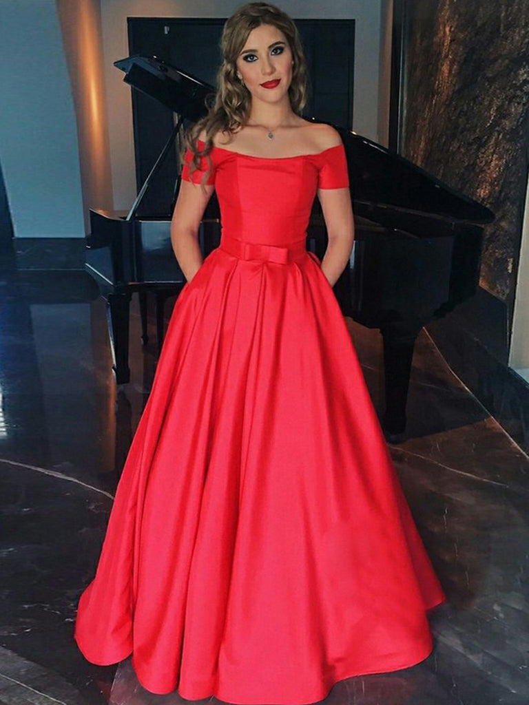 A Line Off Shoulder Red Satin Long Prom Dresses, Red Off Shoulder Formal Dresses, Red Evening Dresses