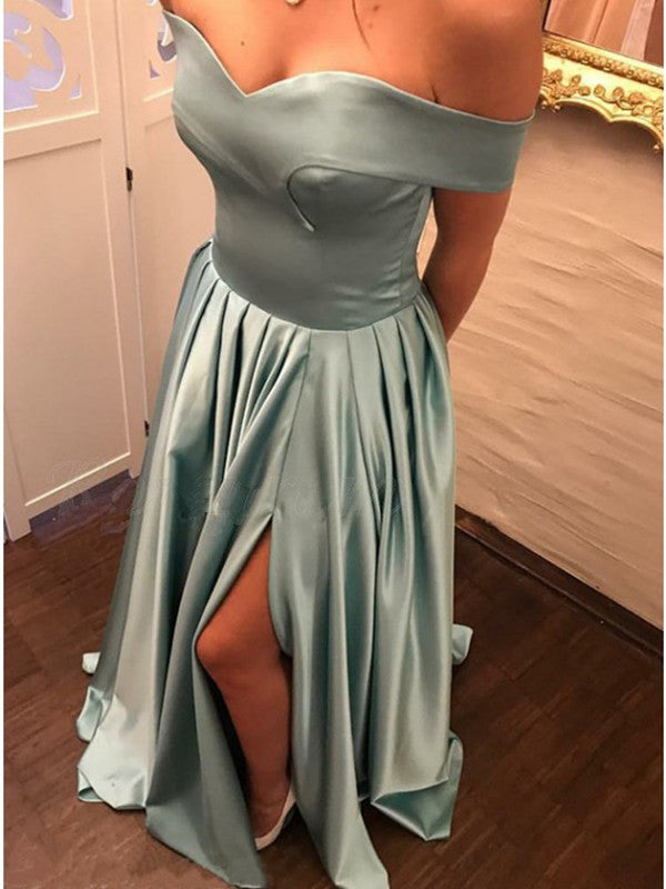b67d1c666895 A Line Off Shoulder Satin Turquoise Long Prom Dresses with Slit ...