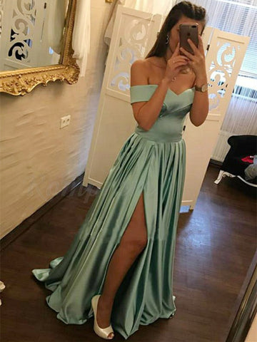 A Line Off Shoulder Satin Turquoise Long Prom Dresses with Slit, Turquoise Formal Dresses, Evening Dresses