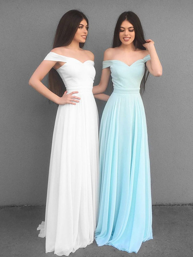 A Line Off Shoulder White/Blue Chiffon Long Prom Dresses, Off Shoulder White/Blue Bridesmaid Dresses, Graduation Dresses