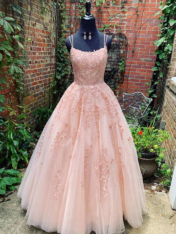 A Line Pink Lace Long Prom Dresses Wedding Dresses, Lace Pink Formal Graduation Evening Dresses