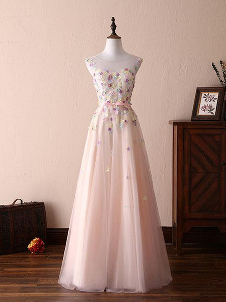 A Line Round Neck Flowers Appliques Light Pink Prom Dresses, Pink Formal Dresses, Evening Dresses with Flower