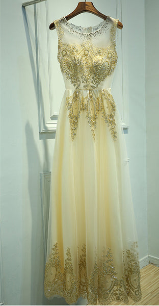 A Line Round Neck Lace Golden Prom Dress, Golden Formal Dress