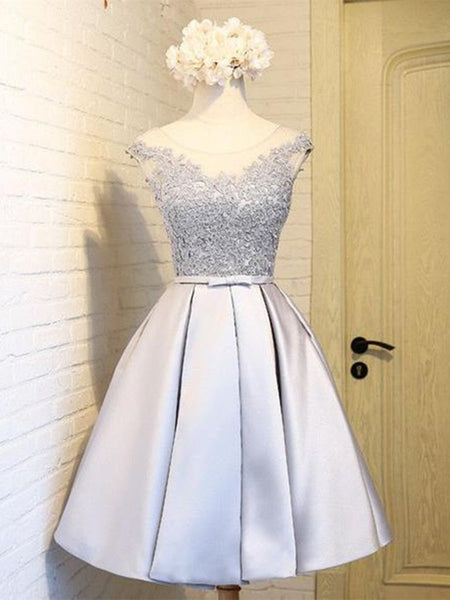A Line Round Neck Lace Short Gray Prom Dress, Lace Short Gray Graduation Dress, Short Gray Homecoming Dress