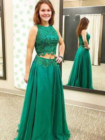 A Line Round Neck Lace Top Green Long Prom Dresses, Green Lace Formal Dresses, Green Evening Dresses