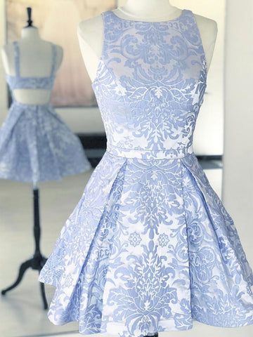 A Line Round Neck Open Black Short Blue Lace Prom Dresses, Short Blue Lace Formal Homecoming Graduation Dresses