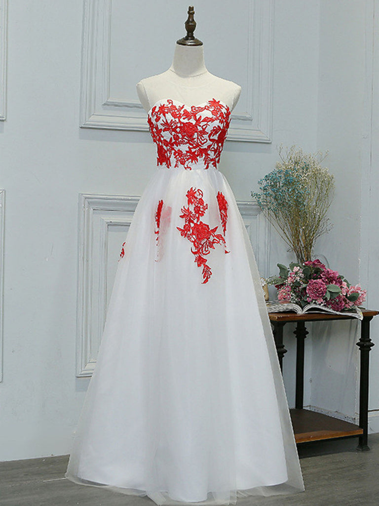 A Line Round Neck Red Lace Appliques White Prom Dresses, Lace White Formal Dresses, Lace Appliques White Graduation Dresses