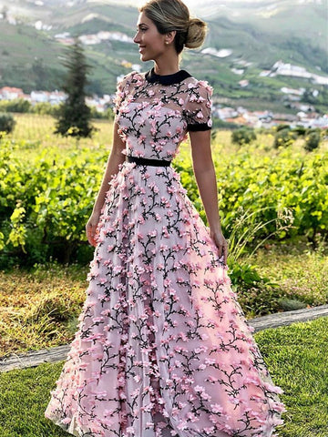 A Line Round Neck Short Sleeves Prom Dresses with 3D Flowers, 3D Flowers Pink Formal Dresses, Graduation Dresses