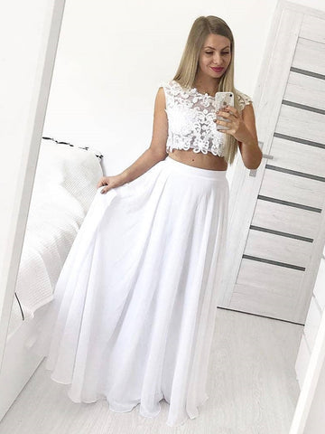 A Line Round Neck Two Pieces Lace White Prom Dresses, Round Neck Two Pieces Lace White Formal Graduation Evening Dresses, 2 Pieces White Lace Bridesmaid Dresses