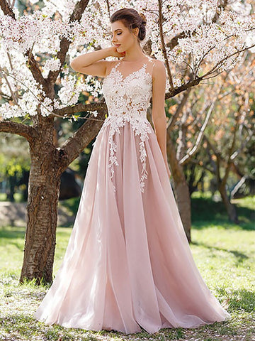 A Line Round Neck White Lace Pink Tulle Long Prom Dresses, Pink Formal Dresses, Evening Dresses