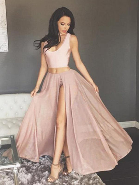 A Line Scoop Neck Two Pieces Chiffon Pink Long Prom Dresses with High Slit, Two Pieces Pink Formal Dresses, Graduation Dresses