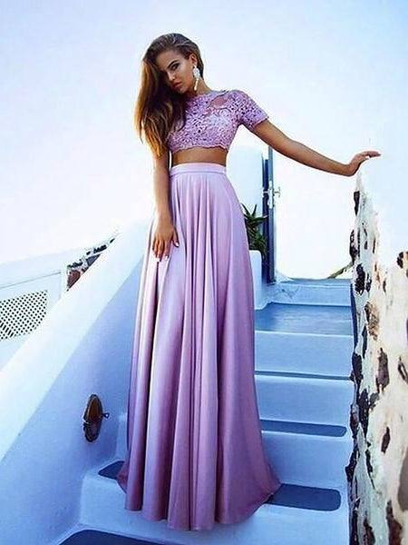 A Line Short Sleeves Lace Purple Prom Dress, Lace Formal Dress, Graduation Dress