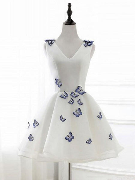 A Line Short White Prom Dresses With Butterfly Appliques, Butterfly Homecoming Dresses