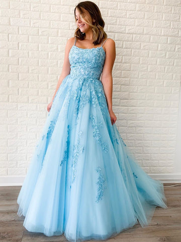 A Line Sky Blue Lace Backless Long Prom Dresses, Backless Sky Blue Lace Formal Dresses, Sky Blue Evening Dresses