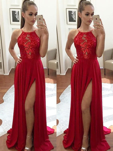A Line Sleeveless Halter Neck Lace Red Prom Dress, Red Formal Dress, Red Lace Graduation Dress
