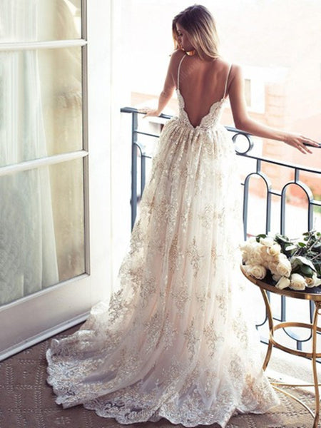 A Line Spaghetti Straps Backless Champagne Lace Appliques Ivory Wedding Dresses, Lace Champagne Prom Dresses, Formal Dresses, Evening Dresses