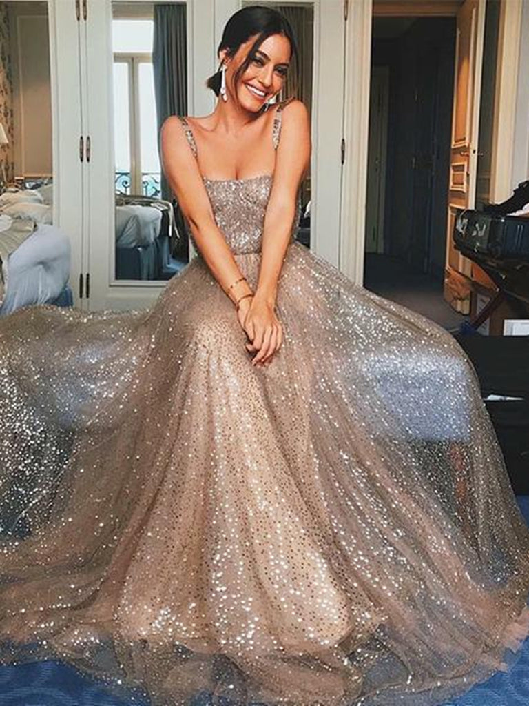 A Line Spaghetti Straps Backless Champagne Long Prom Dresses with Sequins, Champagne Formal Dresses, Evening Dresses