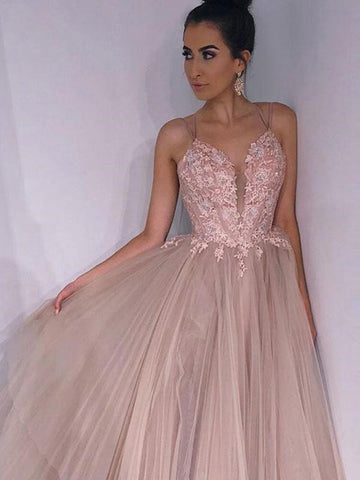 A Line Spaghetti Straps Backless Pink Lace Appliques Champagne Prom Dresses, Lace Champagne Formal Dresses, Champagne Evening Dresses