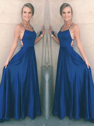 A Line Spaghetti Straps Backless Satin Royal Blue Prom Dresses, Royal Blue Formal Dresses, Graduation Dresses