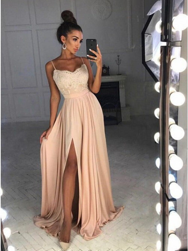 8f525178ee5 A Line Spaghetti Straps Lace Pink Prom Dresses, Pink Formal Dresses, D –  Shiny Party